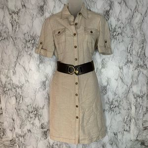 Tahari Button front Belted Dress Safari Tan Cream